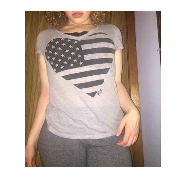 PINK Victoria's Secret Tops - PINK Victorias secret vintage American flag tshirt